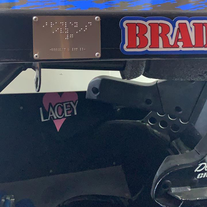 Braille Plate on Race Car