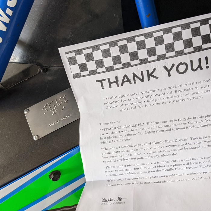 Race Car Nameplate Thank you letter