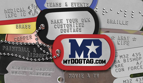 Design and order your own custom dogtags with the online dogtag generator at www.mydogtag.com