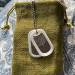 Dog Tags with Green Burlap Sac (Instagram)