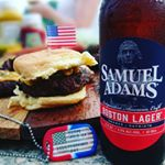 Independence Day USA Flag Dog Tag with Beer and Hamburger (Instagram)