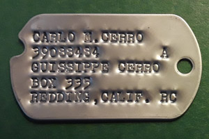 Notched Dog Tag with Darkened Debossed Letters