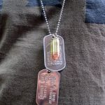 9mm Bullet Pendant with shiny dogtags on chain