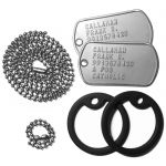 US Army Dog Tags Set with Chains and Silencers