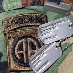 US Army Vietnam 67-68 Dog Tags with Airborne Patch and P-38