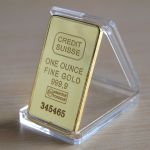 Novelty Gold Bullion Bar in display case with custom laser engraving