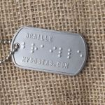 Braille dog tag without finger