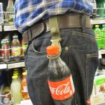 Quick Release Bottle Carrier coca-cola on belt