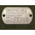 Steel Flushmount Tag embossed with all available characters