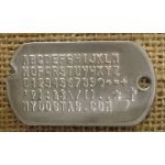 Notched Dog Tag embossed with all available characters