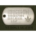 Weed Dog Tag with marihuana leaf