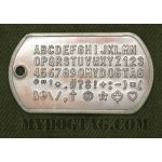 Rusty Steel Dog Tag embossed with all available characters with random rust spotting