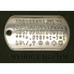 Mil-Spec Shiny Dog Tag embossed with all available characters