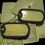 Novelty Gold Bullion Bar with Gold Plated Dog Tags