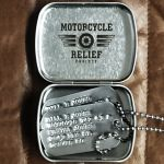 Mini Hinged Tin Box with custom logo and dogtags inside
