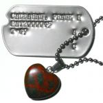 Reddish Stone Heart Pendant with Dog Tag