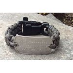Green Paracord Bracelet with customized matte dogtag, perfect for emergency info!