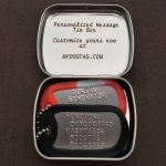 Mini Hinged Tin Box with custom message and dogtags inside