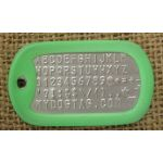 Green Glow-in-the-Dark Dog Tag Silencer on Mil-Spec matte dogtag
