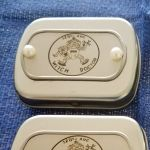 Mini Hinged Tin Box with Witch Doctor 128th AHC custom engraved Dog Tag riveted to Tin