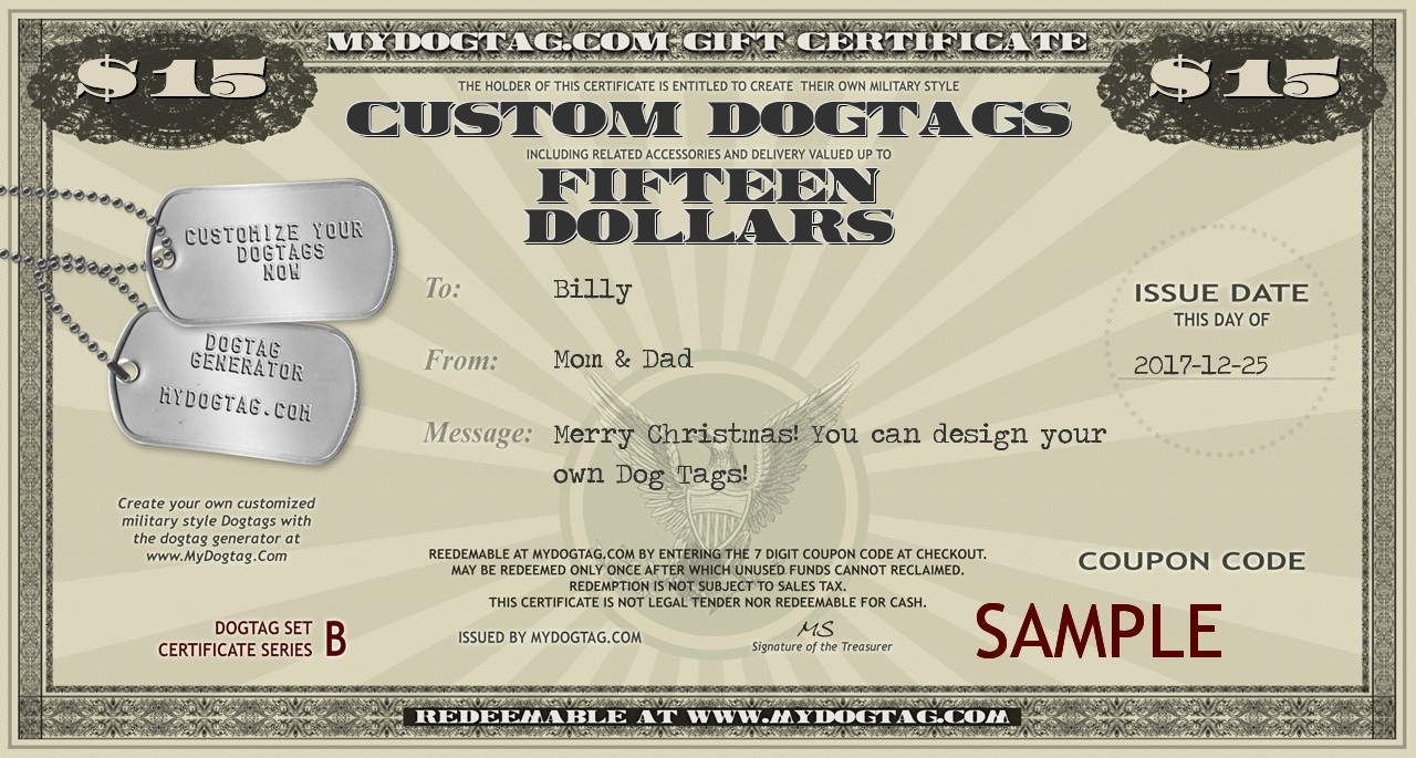 Gift certificates for dog tags and survival gear sample mydogtag gift certificate 1betcityfo Gallery