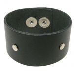 Black Leather Wrist Cuff Bracelet