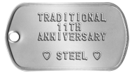 11th Anniversary Steel Spouse Dog Tags - TRADITIONAL 11TH ANNIVERSARY  ♥ STEEL ♥