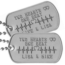 2 Hearts 1 Beat Boyfriend Dog Tags - TWO HEARTS ♥♥ ONE BEAT   LISA & MIKE