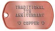 7th Anniversary Copper Spouse Dog Tags - TRADITIONAL 7TH ANNIVERSARY  ♥ COPPER ♥