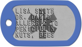 Allergy Dog Tags LISA SMITH DR. DAVID ALLERGIC TO PENICILLIN NUTS, BEES