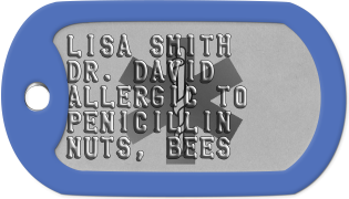 Allergy Dogtags LISA SMITH DR. DAVID ALLERGIC TO PENICILLIN NUTS, BEES