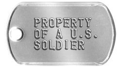 Army Earring Dog Tags  PROPERTY  OF A U.S.  SOLDIER