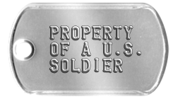 Army Earring Dogtags  PROPERTY  OF A U.S.  SOLDIER