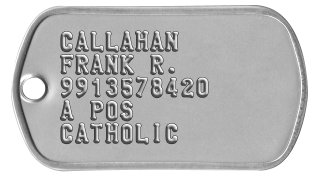 Army Dog Tags JONES, BILL R. 1234567890 A POS NO PREFERENCE