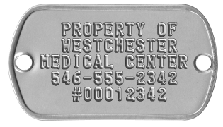 Asset Inventory Tags   PROPERTY OF   WESTCHESTER MEDICAL CENTER  546-555-2342    #00012342