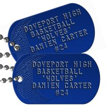 Basketball Team Player on Blue Team Player Dog Tags - DOVEPORT HIGH BASKETBALL 'WOLVES' DAMIEN CARTER #24