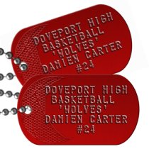 Basketball Team Player on Red Team Player Dog Tags - DOVEPORT HIGH BASKETBALL 'WOLVES' DAMIEN CARTER #24