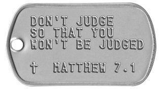 Bible Verse Dog Tags DON'T JUDGE SO THAT YOU WON'T BE JUDGED  ✝  MATTHEW 7.1
