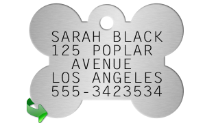Bone Shaped Dogtag SARAH BLACK 125 POPLAR   AVENUE LOS ANGELES 555-3423534