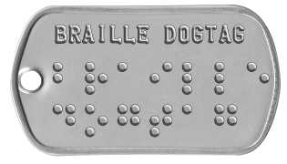 Braille Statement Dog Tags BRAILLE DOGTAG ⠃⠗⠁⠊⠇⠇⠑ ⠙⠕⠛⠞⠁⠛