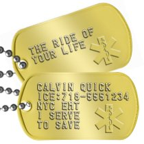 Brass Star of Life Dog Tags Paramedic Dog Tags - CALVIN QUICK ICE:718-5551234 NYC EMT I SERVE TO SAVE