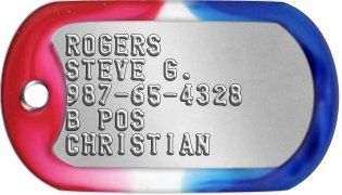 Captain America Dog Tags ROGERS STEVE G. 987-65-4328 B POS CHRISTIAN