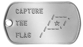 Airsoft Scenario Dog Tags CAPTURE            /---. THE     / ★ /         /---' FLAG  /