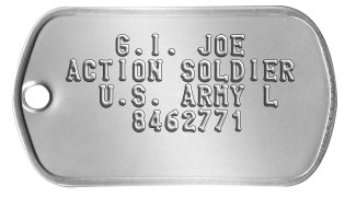 Classic G.I. Joe Dog Tags    G.I. JOE ACTION SOLDIER   U.S. ARMY L     8462771