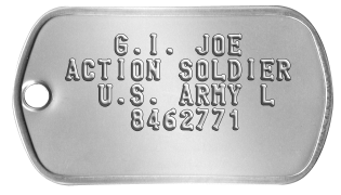 Classic G.I. Joe Dogtags    G.I. JOE ACTION SOLDIER   U.S. ARMY L     8462771