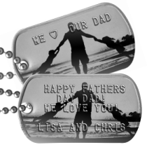 Dad with 2 Children Fathers Day Dog Tags - HAPPY FATHERS DAY DAD! WE LOVE YOU!  LISA AND CHRIS