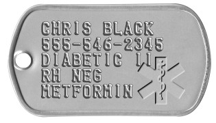 Diabetic Dog Tags CHRIS BLACK 555-546-2345 DIABETIC II RH NEG METFORMIN