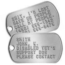 Disabled Vet Service Dog Tags Guide and Service Dog Tags - SMITH JOHN, W. DISABLED VET'S SUPPORT DOG PLEASE CONTACT
