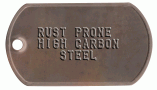 High Carbon Steel Rusty Dogtag
