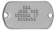 EAA Small 2-Hole Dogtag Experimental Amateur Aircraft Data Plate - EAA JOHN DOE CESSNA 17 3432432